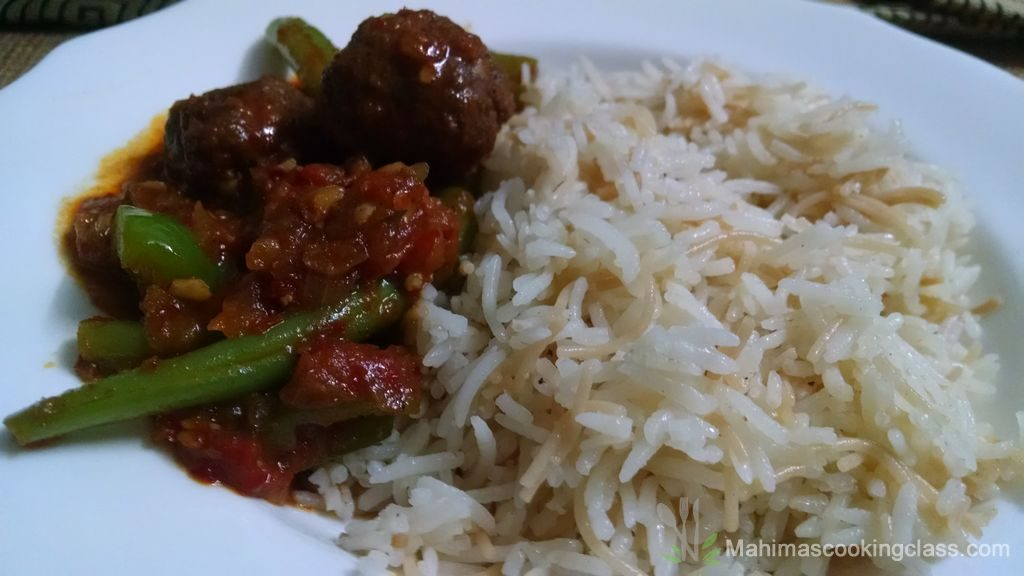 Vermicelli rice with beef harissa